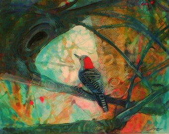 Perfect view, 11x14 inches, bird art, mixed media photo,nature decor, fine art photography, birds, woodpecker, teal and red art, wall decor