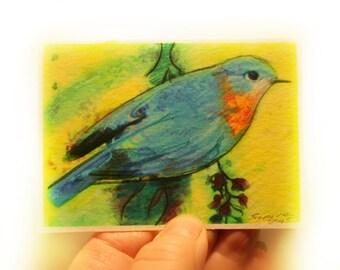 bird art, gift under 10, gift under 15, Spring begins, Bluebird art, bluebird aceo, art, photography, nature, birds, miniature art