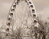 Niagara Falls Sepia Photography Ferris Wheel Photograpy Fine Art Carnival Decor Canada Childrens Room Decor Nursery Decor Tree Photography