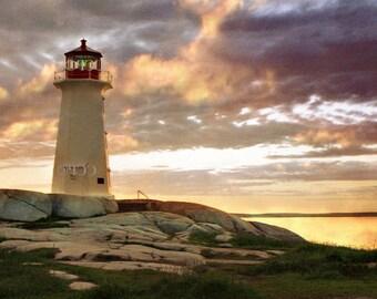 Peggys Cove, Nova Scotia, Canada, Lighthouse Print, Sunset Photography, Gold And Purple ,Lighthouse Decor, Wall Decor, Fine Art Landscape