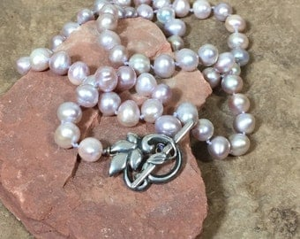 Large Mauve Freshwater Pearl Necklace with Decorator Sterling Toggle