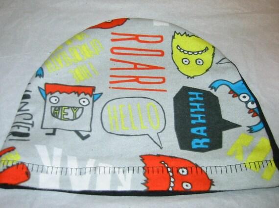 Kid's Chemo Hat, Monsters, Children's Cancer Cap, Alopecia, Sleep Cap