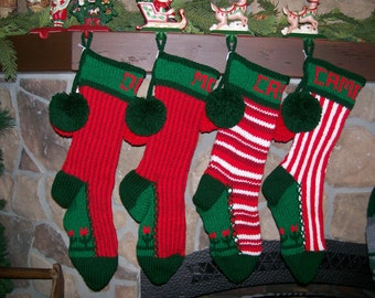 Special Order for a Set of FOUR PERSONALIZED Old Fashioned Hand Knit Christmas Stockings of your choice