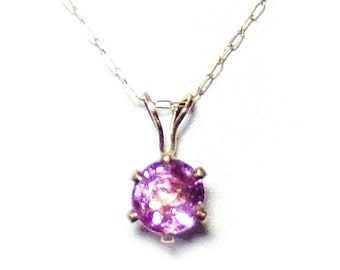 Pink spinel 14k gold pendant and chain