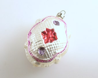 Vintage Christmas Ornament Glass Ornament Quilted Pillow