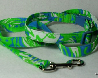 SALE - Handcrafted Lilly Pulitzer Limeade Roar of the Jungle Dog Collar & Leash Set -SALE