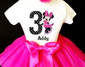Minnie Mouse Black Hot Pink Polka Dotted Dots 3rd Third Girl Birthday Tutu Outfit Custom Personalized Name Age Party Shirt Set
