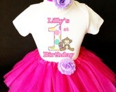 Adorable Monkey Polka dots Hot Pink 1st First Girl Birthday Tutu Baby Outfit Custom Personalized Name Age Party Shirt Set