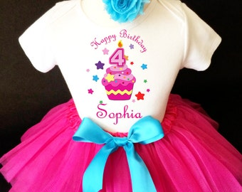 Cupcake Pink Rainbow Stars 4th Girl Birthday Tutu Outfit Custom Personalized Name Age Party Shirt Set
