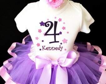 Stars Lavender Light Purple Pink Black 4th Girl Birthday Tutu Outfit Custom Personalized Name Age Party Shirt Set