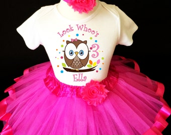 Owl Look WhOO's Whos Who's Hot Pink Brown Rainbow Dots 3rd Third Girl Birthday Tutu Outfit Custom Personalized Name Age Party Shirt Set