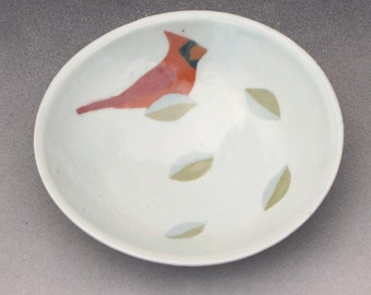 Porcelain Bowl with Inlay of Cardinal and Leaves--3 of 3