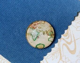 4pcs handmade world map the earth glass cabochons 25mm (250675)