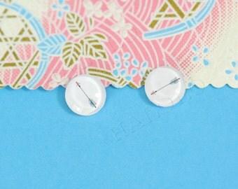 Sale - 10pcs handmade arrow clear glass dome cabochons 12mm (12-9548)