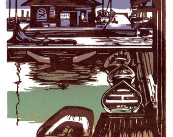 Wooden Boats Block Print Note Card