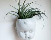 Doll Head Wall Planter, Concrete Baby Head, Air Plant, Succulent