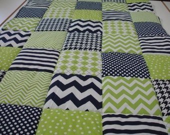 Mixed Chevrons Dots and Argyle in Lime and Navy Minky Blanket You Choose Size and Minky Color MADE TO ORDER No Batting