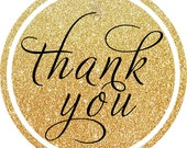 Glitter Gold & Black Thank You round sticker label / cupcake topper / thank you tags for birthday party, baby shower, PERSONALIZED