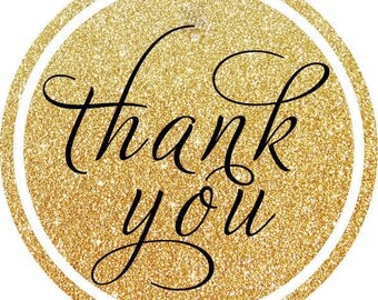 Glitter Gold & Black Thank YouThank You PERSONALIZED Stickers, Tags, Labels, or Cupcake Toppers, various sizes,