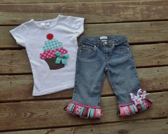 CUP-CAKE SWEETIE Custom Tee and  RIBbON FRINgE denim skirt/ jeans/ shorts/ capris set sizes 0-3-6-9-12-18-24 mth-2-3-4-5-6-7-8