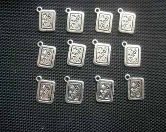 8 Tarot Card Charms Silver Tone Metal 18mm
