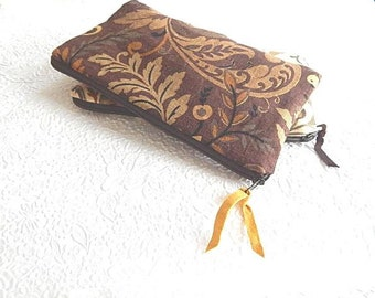 Upholstery pouch, brown purse, ivory purse, tan purse, linen zipper pouch, printed floral purse, lined pouch, flat zipper purse,
