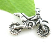 Antique Silver Dirtbike Charm Drop with Loop 22x17mm (6) ymc017A