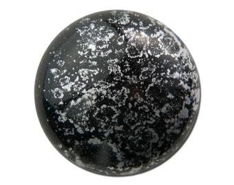Vintage Metallic Silver and Black Acrylic Cabochons 28mm (2) cab838K