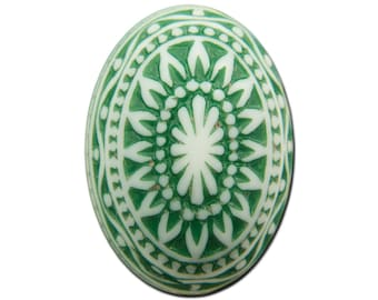 Vintage Etched Mosaic Emerald Green and White Cabochons 25x18mm (2) cab715G