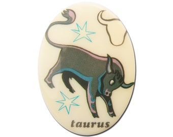 Vintage Retro Zodiac Taurus Cabochon 40x30mm (1) cab474A
