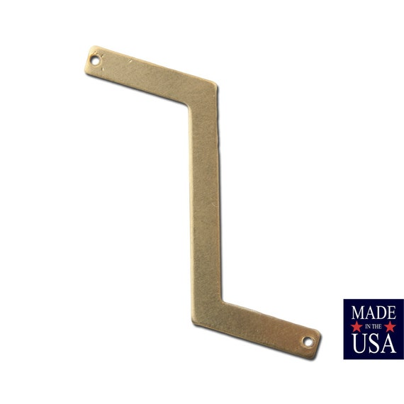 2 Hole Raw Brass Z Shaped Zigzag Connector Pendants (4) mtl269