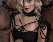 Marinette -  Black Jet Crystal and Skull Embossed Leather Statement Collar and Shoulder Harness - To order