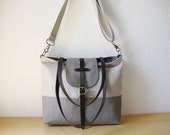 2-Tone Tote in Hemp and Gray with detachable shoulder strap