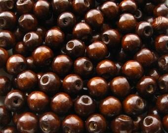 Dark Brown Wooden Beads - Over 100 - 9mm Glossy Dark Chocolate / Coffee Wood Beads (WBD0046)