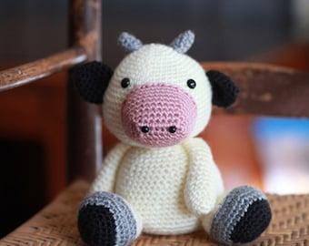 Little Cow, Plush Toy, Stuffed Farm Animal, Crochet Baby Gift