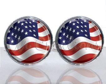 Round Glass Tile Cuff Links - Wavy American Flag CIR140