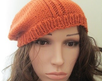 Slouchy thick knit hat, slouchy tam, handknit beret, orange slouchy tam
