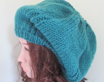 Slouchy hat. chunky knit beret floppy beret baggy hat