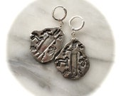 Petroglyph Earrings - Recycled Silver - Eco Friendly - Clip backs