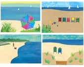 BEACHES - Collage Art Blank Notecards Package of 4 Different Beach Designs