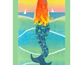 Summer Mermaid - Collage Art Print - Mermaid with Gold Red Hair - 8x10 or 10x13