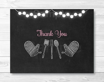Pink BBQ Baby Shower Thank You Card / Pink BBQ Baby Shower / BabyQ Shower /  Folded Template / PRINTABLE Instant Download