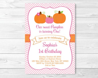 Cute Pink Pumpkin Birthday Invitation / Pumpkin Birthday Invite / Chevron Pattern / Pumpkin 1st Birthday / 1st Birthday Invite / PRINTABLE