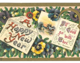 Vintage Happy New Year Letter Postcard