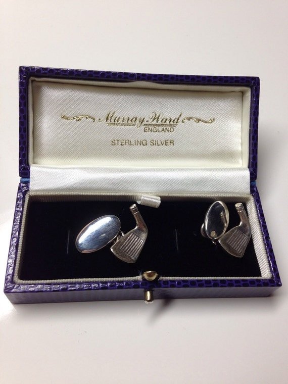Murray Ward Sterling Silver Cufflinks 9 Iron Golf Club