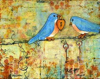 Love Birds Art Print, Lock And Key, Bluebirds, Couple, Fresh Trends, Wedding, Anniversary