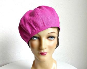 Beret in Rose Water Linen - Women's Hat - Women's Beret Hat