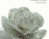 beaded brides flower hair clip fascinator, Silver French Goddess, french beaded flowers - for the bride or bridesmaid