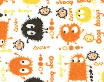 Halloween Orange n Black Ooga Booga Velour Stretch Knit Fabric, Piece 15 x 58/60 inches