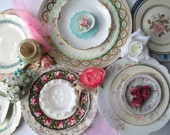 Vintage Mismatched Floral Milk Glass China Plate Collection of Fifteen